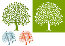 Ensemble illustré d'arbres de chêne Photographie stock libre de droits