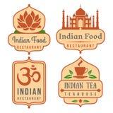 Ensemble indien de logo de vecteur de nourriture illustration stock