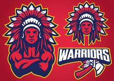 Ensemble indigène américain de mascotte de guerrier illustration libre de droits