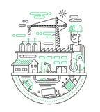 Ensemble industriel avec un travailleur - rayez l'illustration de conception Image libre de droits