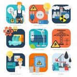 Ensemble industriel d'icône de vecteur d'énergie hydraulique nucléaire d'eco de l'électricité illustration libre de droits