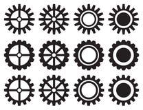 Ensemble industriel d'icône de vecteur de roues dentées Image libre de droits