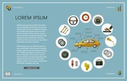 Ensemble infographic d'affiche de service de voiture plate de vecteur Images stock