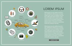 Ensemble infographic d'affiche de service de voiture plate de vecteur Image libre de droits