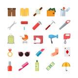Ensemble infographic d'icône de vecteur de style de mode de vie d'outils divers modernes créatifs plats d'habillement Clé h d'all Photo stock