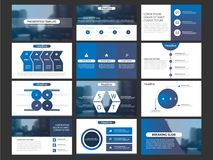 Ensemble infographic de calibre d'éléments de présentation d'affaires, conception horizontale d'entreprise de brochure de rapport illustration stock