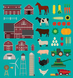 Ensemble infographic de ferme Photos stock