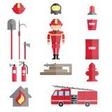 Ensemble infographic de sapeur-pompier illustration stock