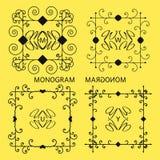 Ensemble insignes, de rubans et de labels de vintage de lettre de monogramme de rétros illustration libre de droits