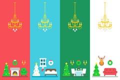 Ensemble intérieur de décor de Noël plat de conception Images stock