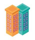 Ensemble isométrique d'édifices hauts adjacents - élément pour le Web, carte de Tileset, conception de paysage, architecture urba illustration libre de droits
