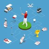 Ensemble isométrique d'éléments de golf Équipement pour jouer le golf illustration libre de droits