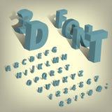 Ensemble isométrique d'alphabet de police caractères 3d et symboles avec l'ombre sur le fond transparent Photos libres de droits