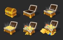 Ensemble isométrique d'animation de coffres au trésor Illustration Libre de Droits