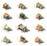 Ensemble isométrique d'icône de boutiques de vecteur Photographie stock