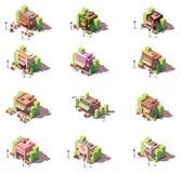 Ensemble isométrique d'icône de boutiques de vecteur Photos libres de droits