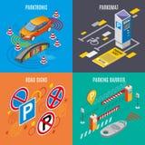 Ensemble isométrique d'icône de stationnement illustration stock