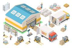 Ensemble isométrique d'icône d'entrepôt, plan, concept logistique