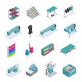 Ensemble isométrique d'icône d'usine de vêtement illustration libre de droits