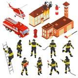 Ensemble isométrique d'icône de corps de sapeurs-pompiers illustration libre de droits