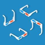 Ensemble isométrique d'icône de verres de l'anaglyphe 3d pour le film de observation illustration libre de droits