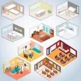 Ensemble isométrique d'intérieur, salles isométriques Image stock