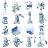 Ensemble isométrique d'intelligence artificielle illustration stock