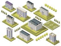 Ensemble isométrique d'université illustration de vecteur