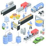 Ensemble isométrique d'usine de laiterie illustration stock