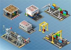 Ensemble isométrique de bâtiments de stockage illustration libre de droits