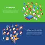 Ensemble isométrique de bannière de réseau social illustration de vecteur