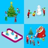 Ensemble isométrique de carte de voeux de Joyeux Noël Santa avec des cadeaux, arbre de Noël avec des enfants, patinoire illustration de vecteur