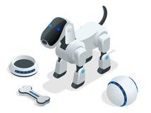 Ensemble isométrique de chien de robot de techno illustration de vecteur
