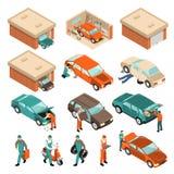Ensemble isométrique de garage illustration de vecteur