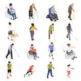 Ensemble isométrique de handicapés illustration stock