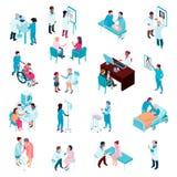 Ensemble isométrique de médecins et d'infirmières illustration de vecteur