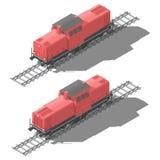 Ensemble isométrique de manoeuvre d'icône de locomotive diesel bas poly Photos libres de droits