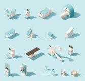 Ensemble isométrique de matériel médical de vecteur bas poly illustration de vecteur