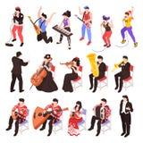Ensemble isométrique de musiciens illustration de vecteur