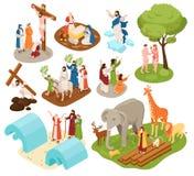 Ensemble isométrique de récits de bible illustration libre de droits