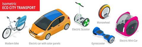 Ensemble isométrique de transport alternatif d'Eco d'isolement sur un fond illustration de vecteur