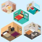 ensemble isométrique de vecteur de la chambre à coucher 3d Photos stock