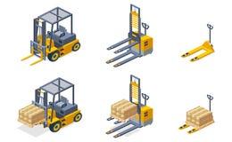 Ensemble isométrique de vecteur de machines hydrauliques d'entrepôt illustration de vecteur