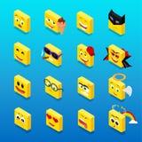 Ensemble isométrique Smiley Funny Design Images libres de droits