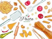 Ensemble italien de pâtes Différents types de pâtes Illustration tirée par la main de vecteur Objets sur le blanc coloré Image libre de droits