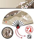 Ensemble japonais de fan Images stock