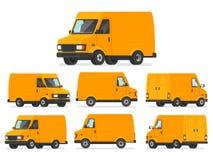Ensemble jaune de fourgon Camion pour le transport des marchandises Véhicule pour d Images libres de droits