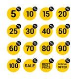Ensemble jaune et noir spécial des prix de signe d'autocollant de vente au détail de symbole de remise d'étiquette de vente d'off Image libre de droits
