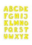 Ensemble jaune tiré par la main de signe d'alphabet d'enfants d'isolement sur le blanc Images stock