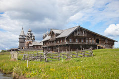 Ensemble of Kizhi Pogost and objects of wooden architecture. Royalty Free Stock Photos